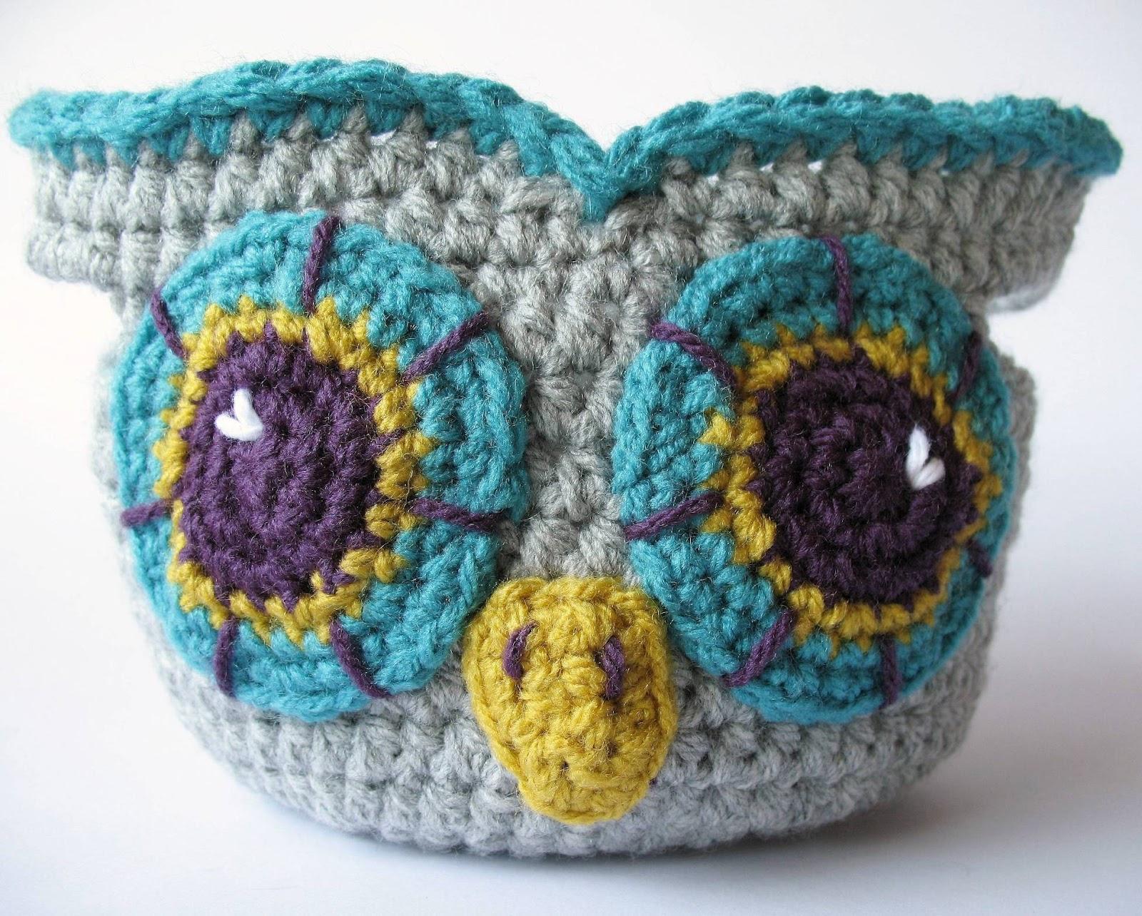 Crochet Owl Basket : eclectic me: crochet owl basket...