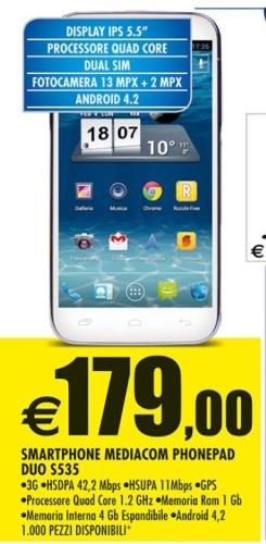 In offerta da Auchan al miglior prezzo attuale il PhonePad Duo S550 a 179 euro