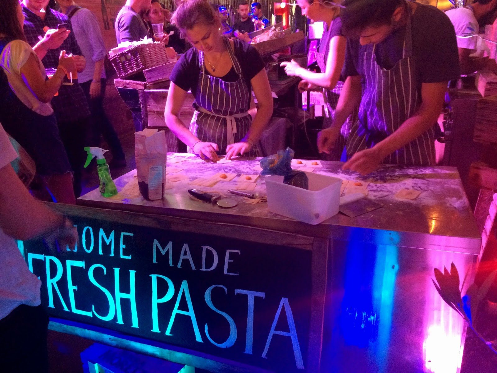 Fresh pasta stand at the Moretti Gran Tour