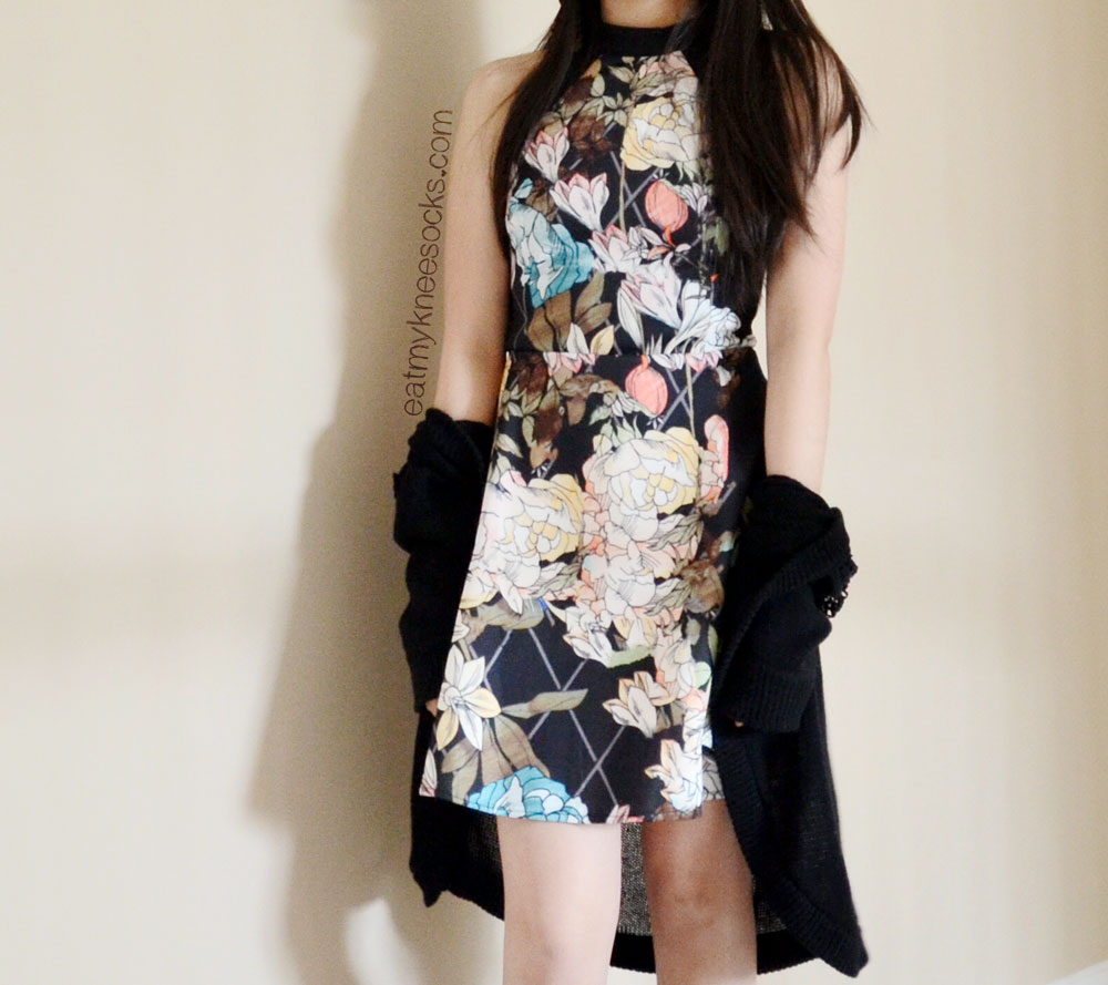 SheInside's floral/grid-print black skater dress is also sold in white.