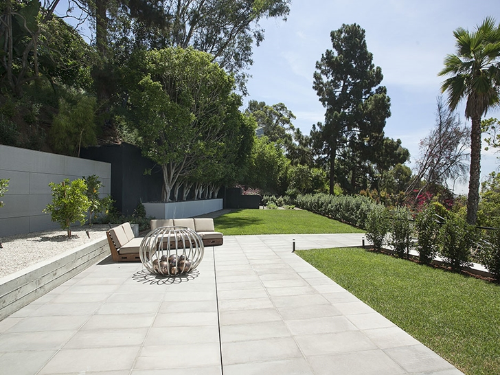 Terrace of Sunset Plaza Drive modern mansion in Los Angeles