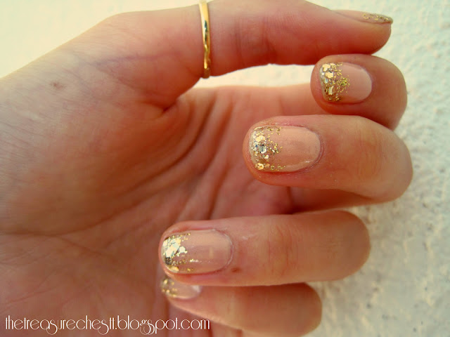 Gold glitter tips nails manicure on nude polish, essie