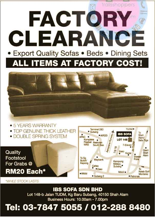 IBS Sofa Factory Clearance Sale: 22 Oct onwards | Trailsshoppers ...