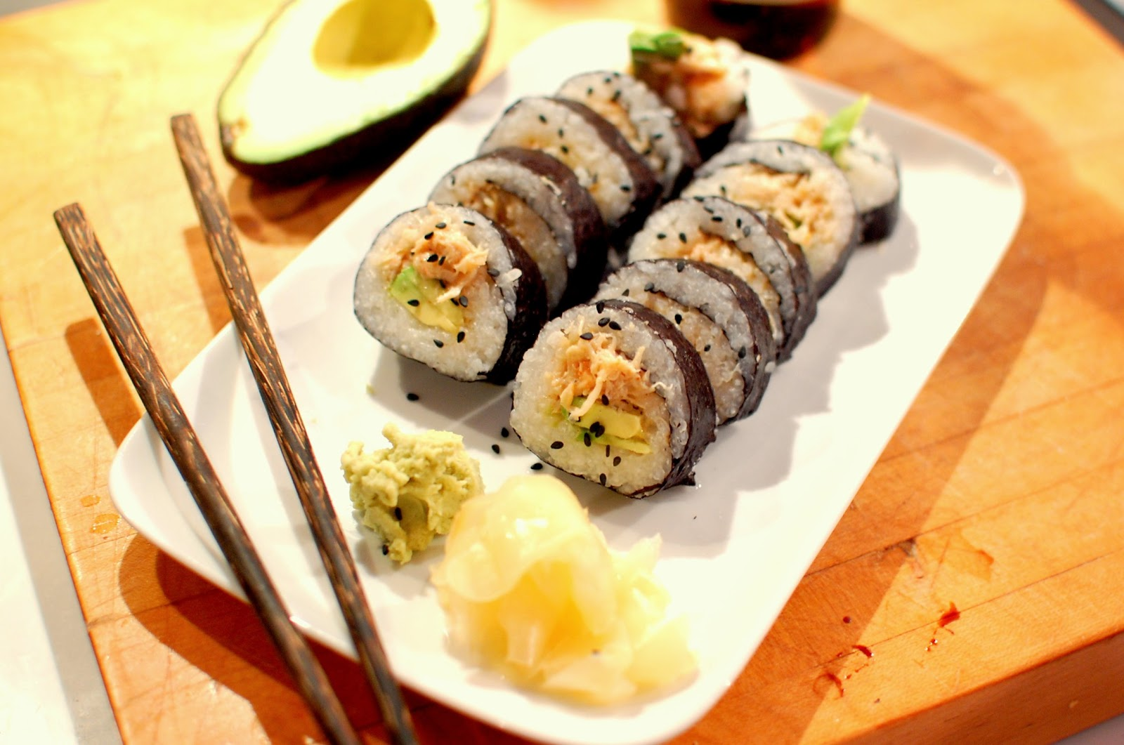 reckless abandon spicy crab sushi rolls. Black Bedroom Furniture Sets. Home Design Ideas