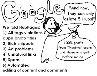 Six problems the Google has had / will have with HubPages satirical cartoon of Paul Edmondson