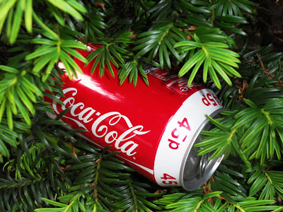 Coca-Cola tin in a yew tree