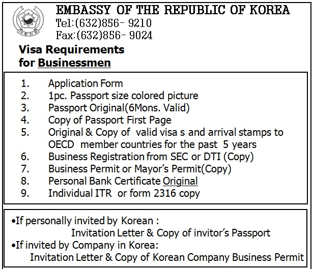 Korea getaway chapter 1 visa kriezeldaria there are other requirements depending on the purpose of entry and the applicants qualifications visa requirements for stopboris Image collections