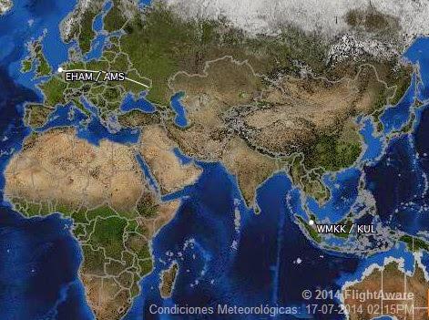 El recorrido del avión de Malaysia Airlines vuelo MH17 derribado en Ucrania en un mapa de FlightAware