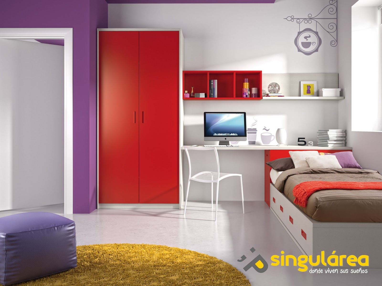 Juvenil compacto sin armario 829 for Dormitorio juvenil compacto