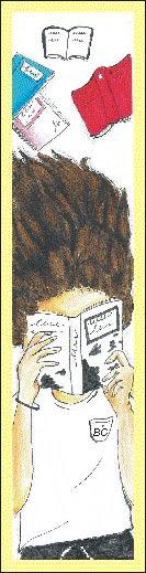 Marcador da biblioteca. Fronte