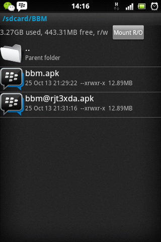 Intall BBM di android gongerbread