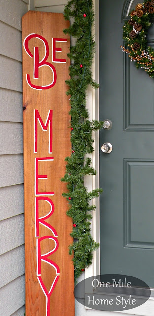 Be Merry Outdoor Christmas Sign   One Mile Home Style