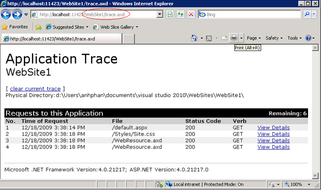 View ASP.NET Trace Information, ASP.NET Tracing Overview, Reading ASP.NET Trace Information, Tracing in ASP.NET