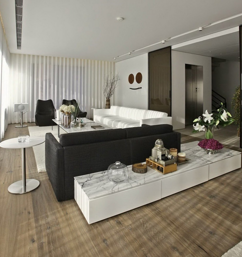 Sala De Estar Vermelha E Preta ~ Construindo Minha Casa Clean Salas de Estar e de TV Modernas!!!