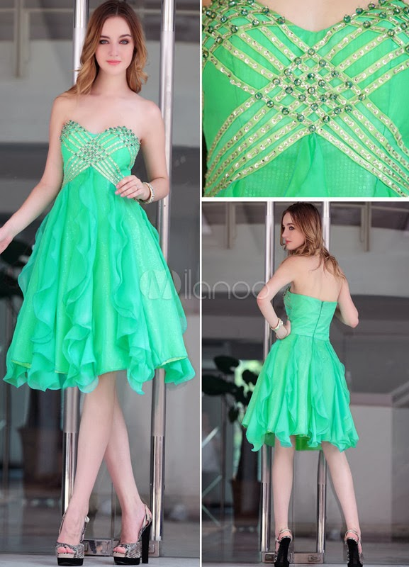 China Wholesale Dresses - Sweet Green Chiffon Pleated Beading Strapless Cocktail Dress