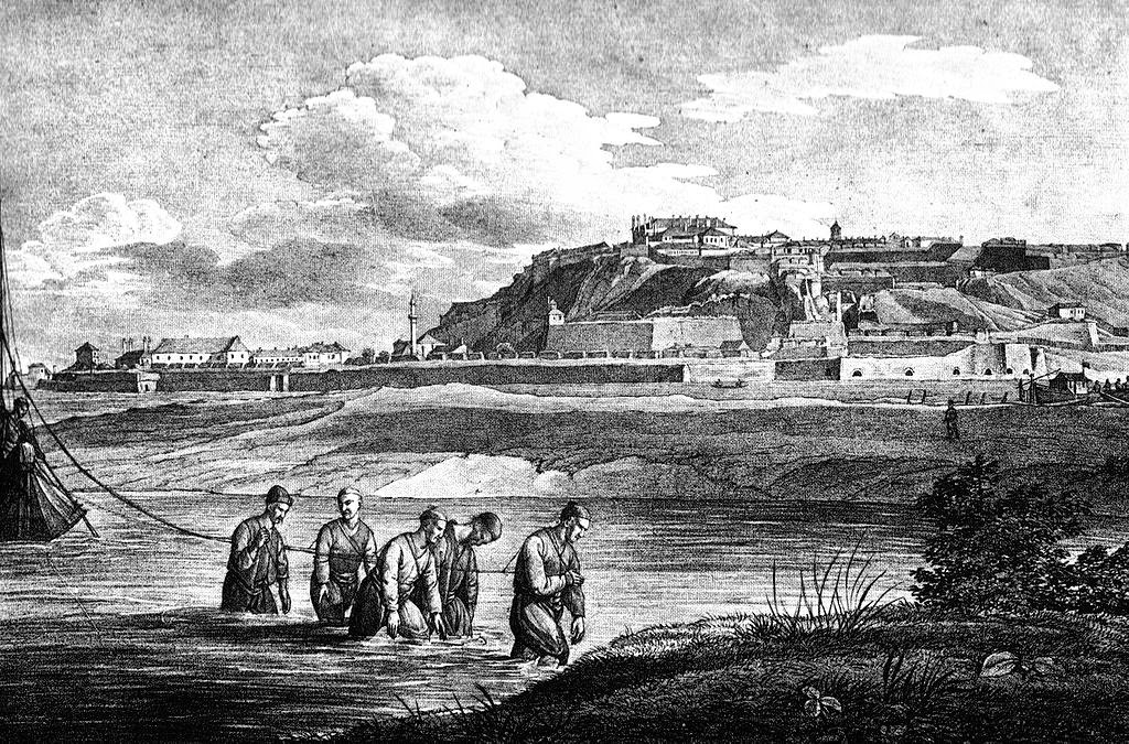 Belgrade in 1821. Drawing by J. Alt, lithographing by Adolph Kunike
