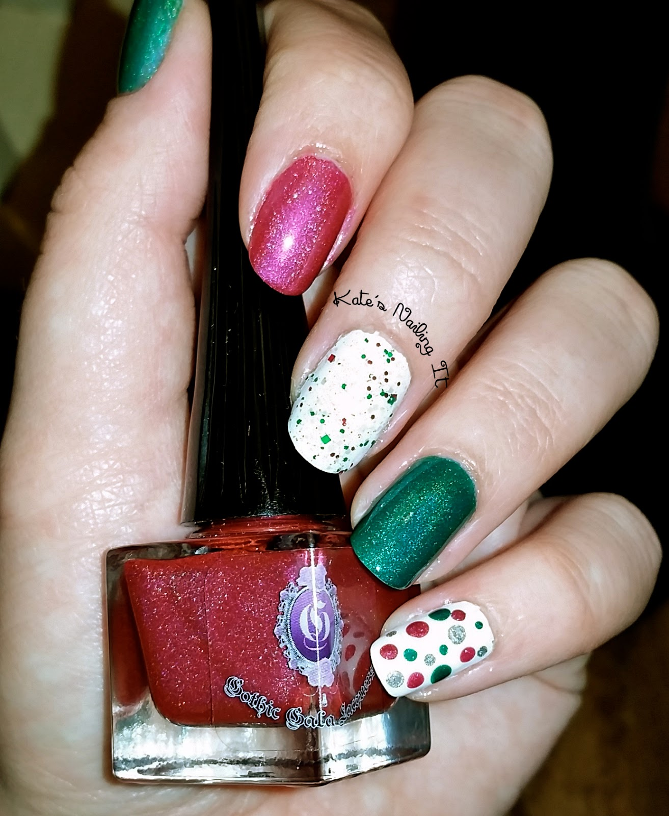 The christmas nail ornament - My Middle Finger Nail Was Inspired By One Of The Christmas Ornaments That I Made I Used Sugar Cube As A Background And Topped It With Twisted Colors Elf
