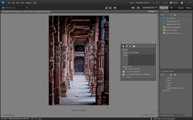 Today we saw one of the discussion on Adobe Forums at http://forums.adobe.com/message/4135522, although it's unanswered as of now. This is very simple problem to solve but many times ignored by lot of folks. Here user wants to rename the photograph which is being organized through Adobe Photoshop Elements. Apart from renaming s/he also wants to move this file to a new location. So if we rename the file or move it to new location through browser, it will be marked as missing in Organizer and will be unusable. Let's see how we can achieve this through Adobe Photoshop Elements Organizer1. Renaming a Photograph in Adobe Photoshop Elements - Right click on the photograph and open Properties dialog.2. In General tab of Properties dialog, we can simply type in new name of the file and change will reflect in Windows Browser as  well. Please have a look at below mentioned image and click on it to see larger version of the image.3. Moving a Photograph from one location to another location/folder through Adobe Photoshop Elements : Go to File Menu and select 'Move...'4. Following dialog will be shown on opting Move option under File Menu - 'Move Selected Items'. if required more files can be added or removed without going back to Organizer Imagewell5. Selected appropriate location where you want to move the selected photograph and photograph will be automatically moved on your windows Browser or hard-drive.Organizer provides very rich functionalists even when you feel the need of reorganizing organized photographsPlease feel free to share your feedback or more questions through Comments.