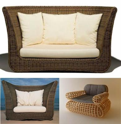 Modern Natural Rattan Sofa