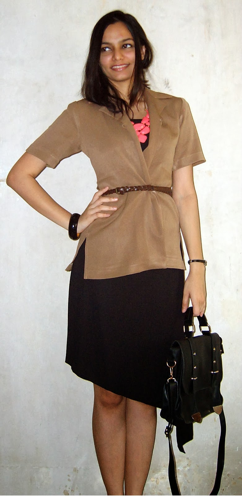 LBD, tan blazer, vintage blazer, workwear, mumbai streetstyle, asymmetric dress, messy updo, fashion blogger
