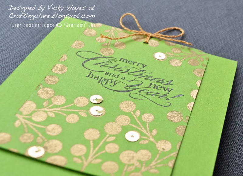 Crafting Clare gold embossed tag card using Bright Blossoms from Stampin' Up