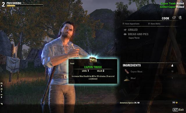 Elder Scrolls Online cooking screen smug grin