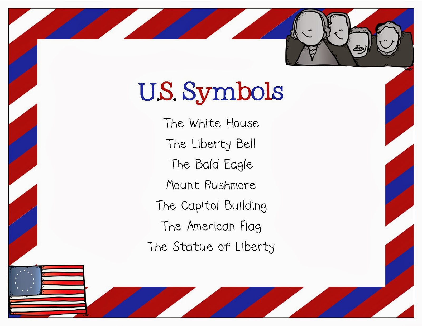symbol of america Welcome to your national symbols cache is specifically for parks and mostly has smokey the bear national symbols of the united states lists 10, and template:list of official united states national symbols lists many more, including ones like phrygian cap that nobody has heard of.