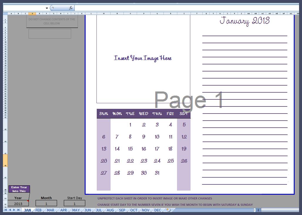 2013 year calendar template