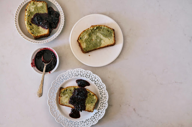 ... Oregon: Matcha Marble Pound Cake with Blackberry Brown Sugar Compote
