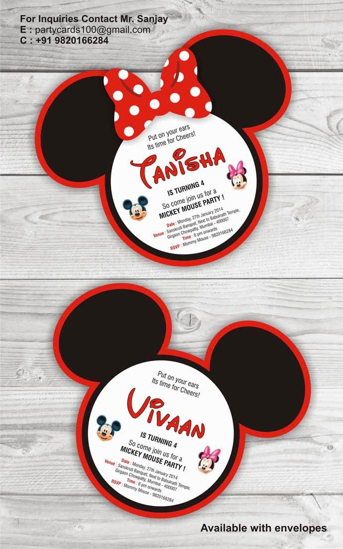 MICKEY MOUSE SHAPE CREATIVE BIRTHDAY PARTY INVITATION THEME CARD PRINTED
