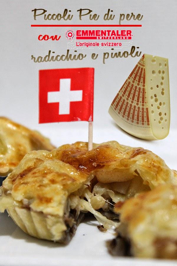 piccoli pie di pere con emmentaler svizzero, radicchio e pinoli