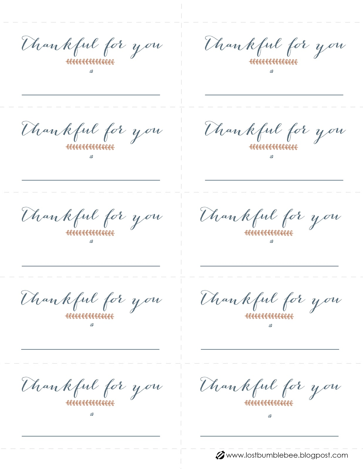 LostBumblebee 2013 Table Place Settings- Thanksgiving Free Printable