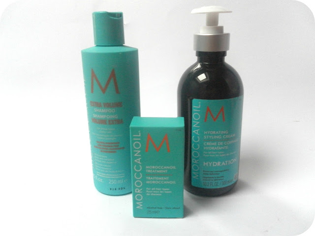 A picture of Moroccan Oil Extra Volume Shampoo, Moroccan Oil Treatment and Moroccan Oil Hydrating Styling Cream