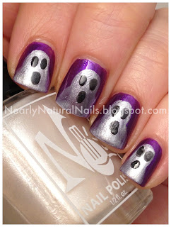 31 Day Nail Challenge, purple nails, Ghost nails, Halloween nail art, Zoya Dovima, No-Miss Boca Ice, Julep Morgan, manicure, spooky nails, boo, bundle monster dotting tool