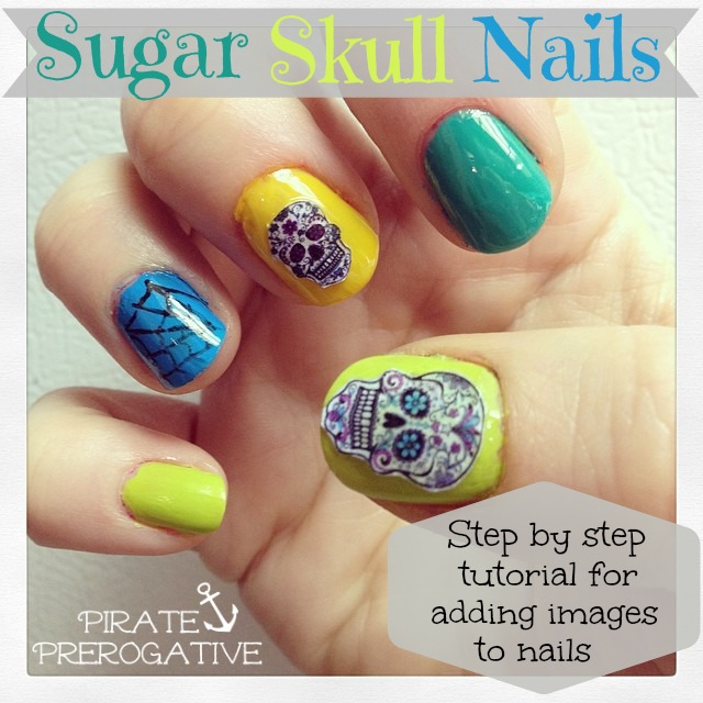 A step by step tutorial for making cute sugar skull nails, or adding any image. It's so much easier than I thought!