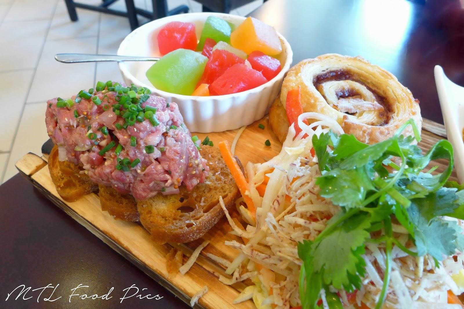 NEXT restaurant - steak tartare, papaya salad, melons, croissants Ottawa