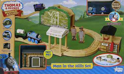 Wood Thomas railroad man in the hills Learning Curve train set Sir Handel and Thomas the tank engine