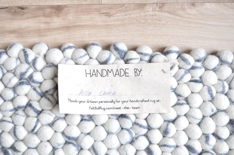 Fairtrade eco-friendly felt ball rug