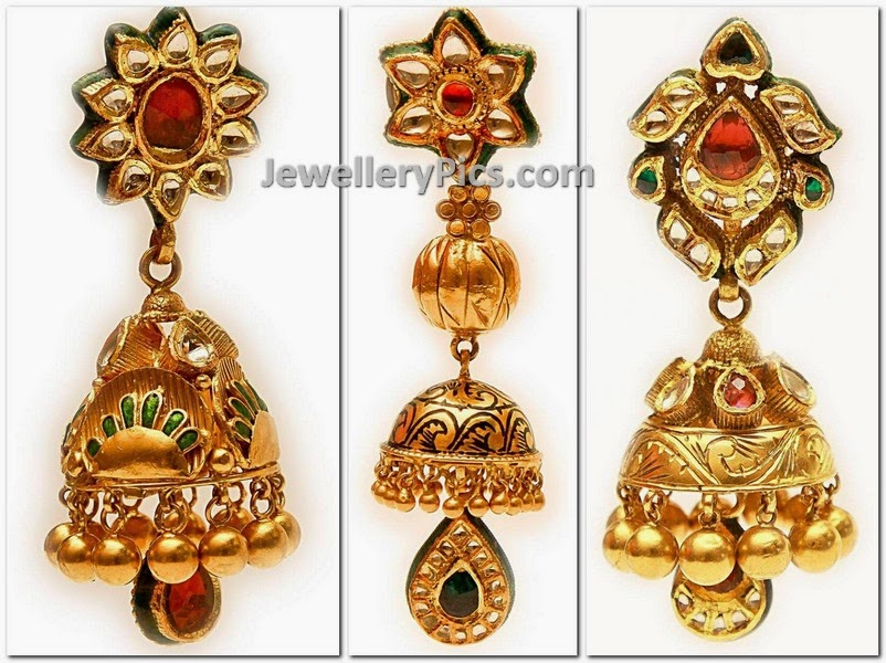 kundan emerald latest gold jumkhas