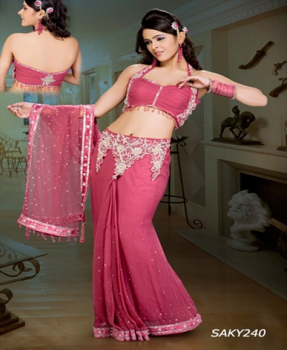 sarees with Back open fancy blouse