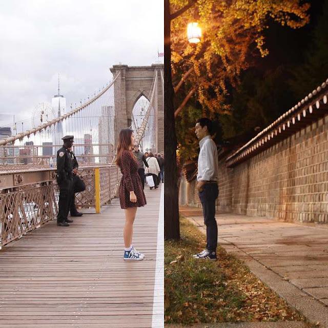 Love Combo - Um casal ilustra o seu relacionamento a distância unindo as fotografias do seu dia a dia