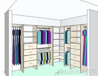 Pola desain lemari pakaian sudut