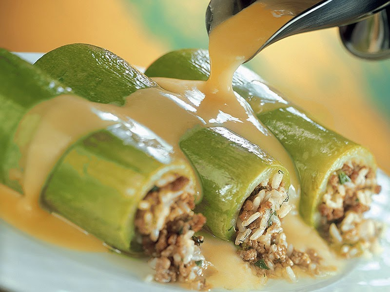 Zucchini stuffed with minced meat, Mediterranean diet, Thessaloniki recipe