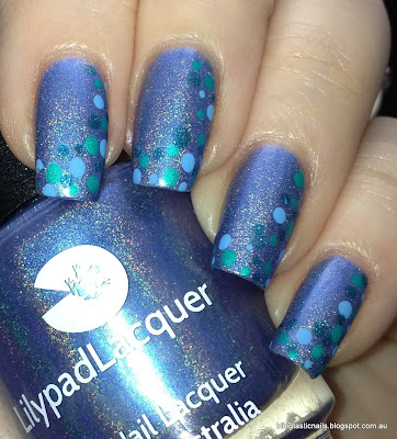Lilypad Lacquer Periwinkle Twinkle with dotting nail art