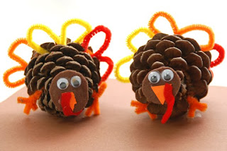 autumn craft, kids crafts, turkey craft, pinecone craft