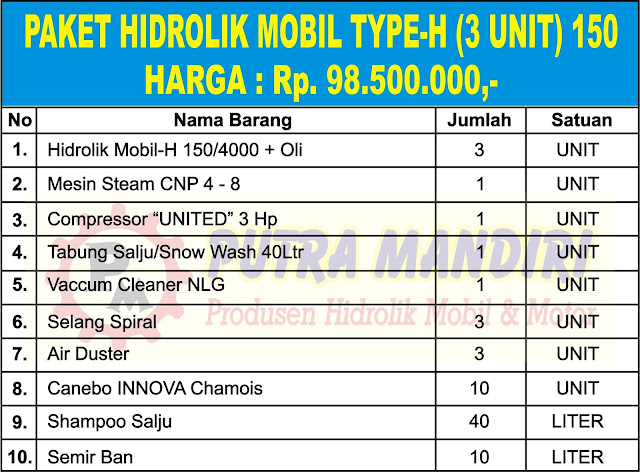 PAKET HIDROLIK MOBIL TYPE-H (3 UNIT) 150