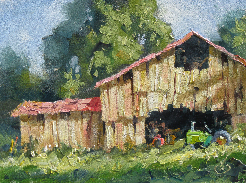 Painting With Artist Oil Paint On Old Barn Wood