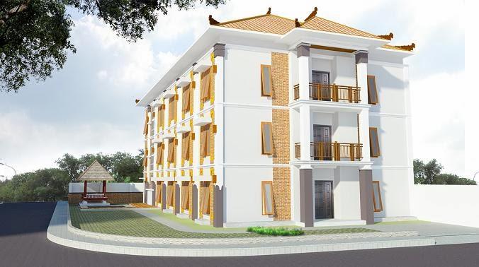 Gambar 3D Exterior Rumah Kost Etnik Minimalis 3 Lantai Modern