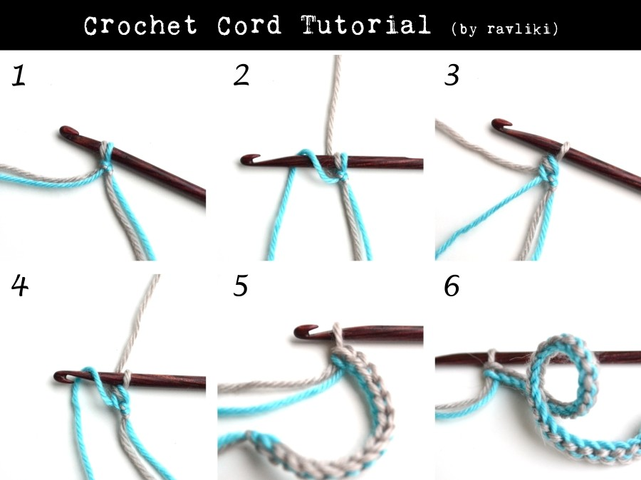 Crochet I Cord : With C1 and C2 yarn at the same time, ch 1 (starting chain).