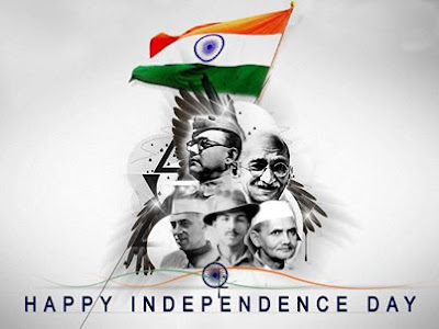 Happy Independence Day Wallpaper with Subhash Chandra Bose, Mahatma Gandhiji, Nehru, Shahstriji, Bhagat Singh photo